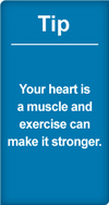 Tip your heart is a muscle and exercise can make it stronger
