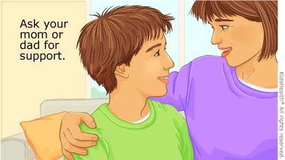 """This picture shows a teen talking to his mom with the caption, """"Ask your mom or dad for support."""""""