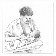 Nursing position called the cradle hold